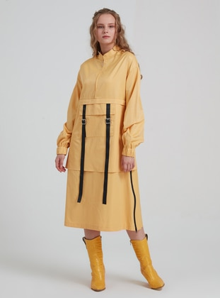 Yellow - Crew neck - - Trench Coat