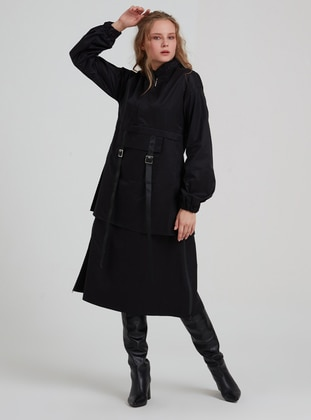 Black - Crew neck -  - Trench Coat