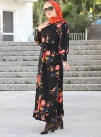 Mercan - Siyah - Çiçekli - Yuvarlak yakalı - Astarsız kumaş - Elbise