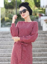 Red - Crew neck - Unlined - Viscose - Dress