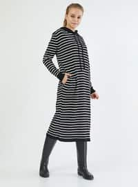 Black - Stripe - Acrylic -  - Tunic