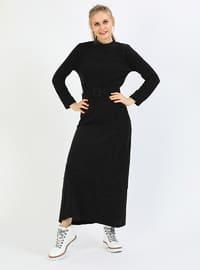 Black - Crew neck - Dress
