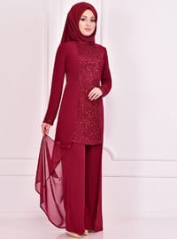 Fully Lined - Maroon - Crew neck - Evening Suit