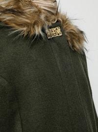 Khaki - Fully Lined - Point Collar - Acrylic - - Coat