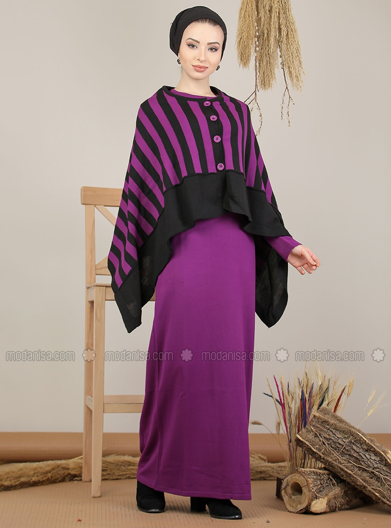 Purple - Black - Stripe - Unlined - Acrylic -  - Knit Suits