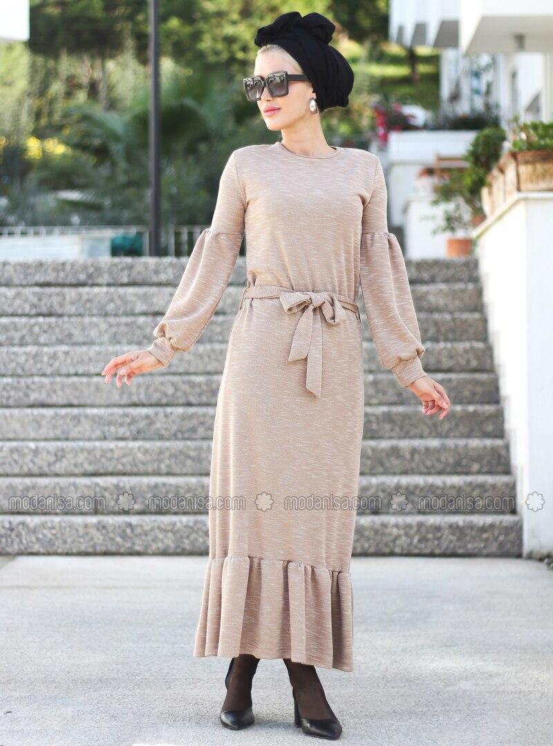 Beige - Crew neck - Unlined - Viscose - Dress