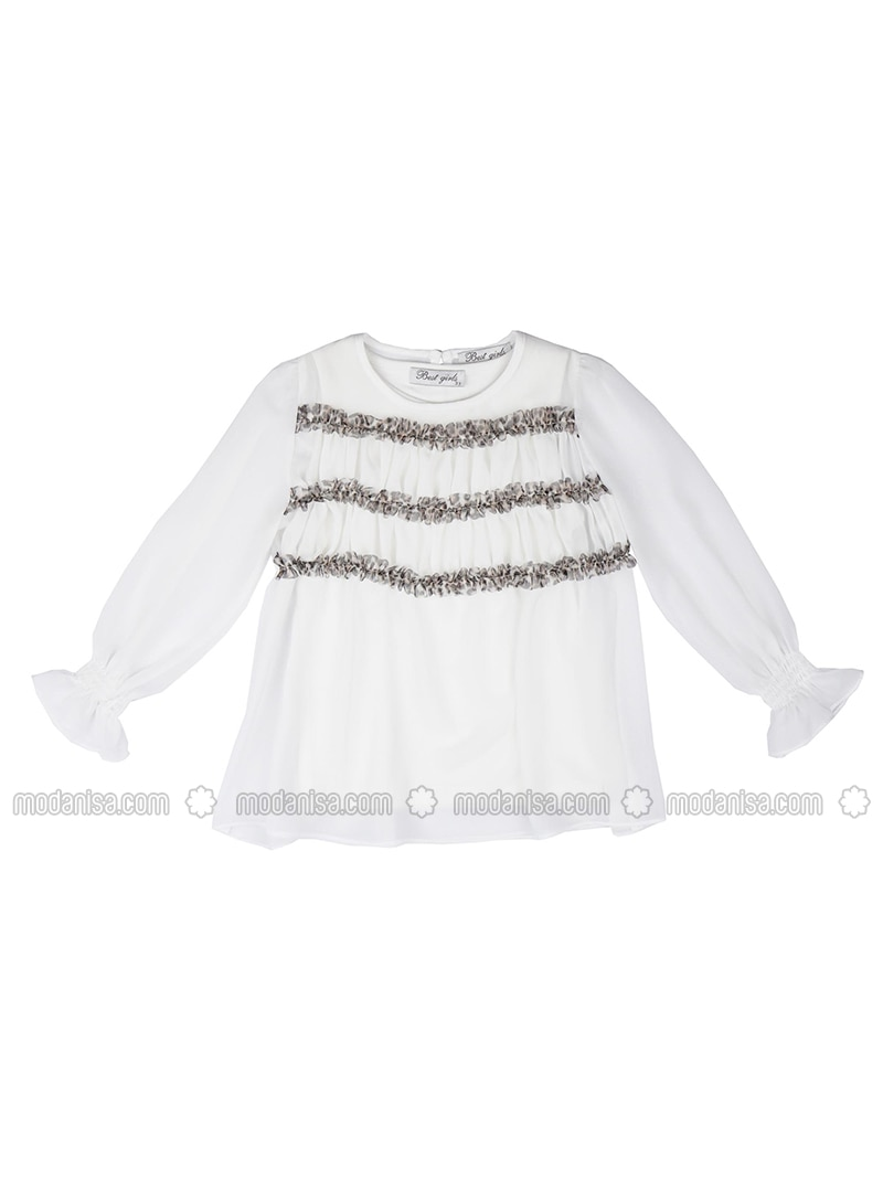 Crew neck - Viscose - Unlined - Ecru - Girls` Blouse