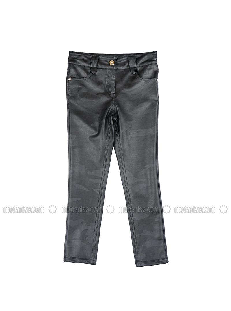Polyurethane - Black - Girls` Pants