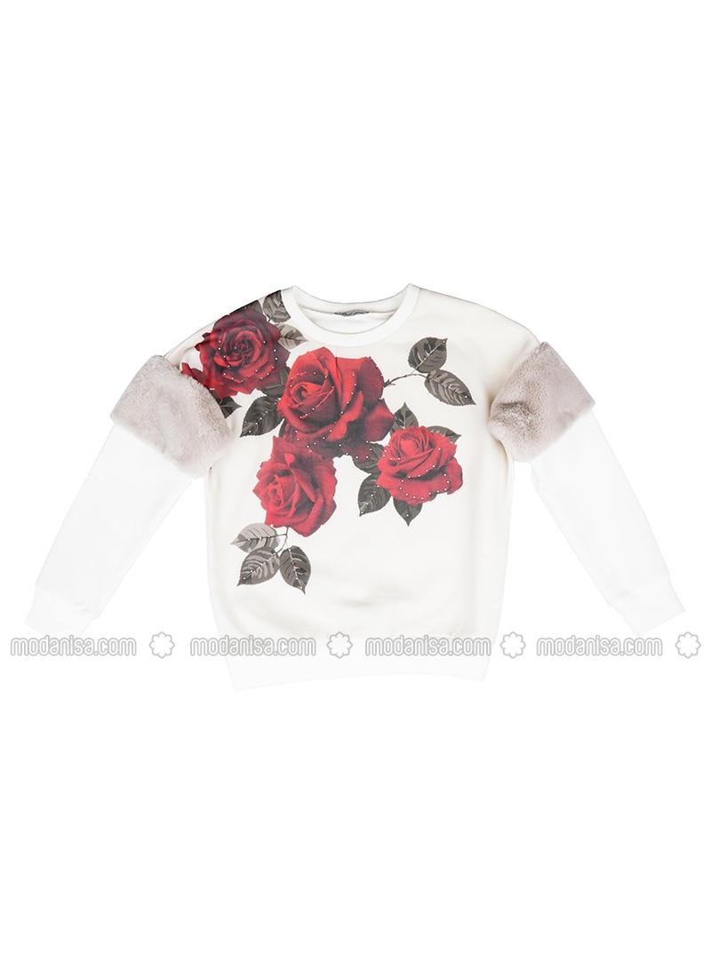 Crew neck -  - Red - Girls` Sweatshirt