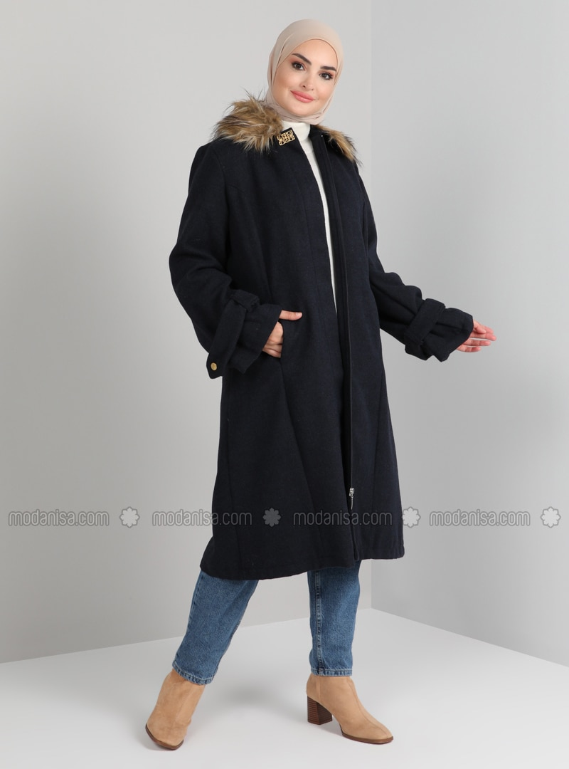 Navy Blue - Fully Lined - Point Collar - Acrylic - - Coat
