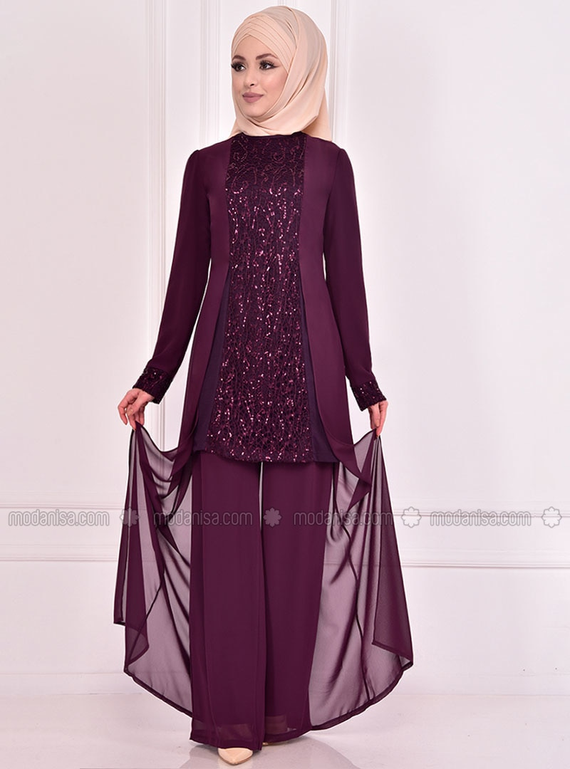 Fully Lined - Plum - Crew neck - Evening Suit