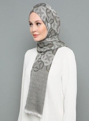 Gray - Khaki - Multi - Printed - Shawl