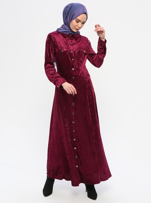 Plum - Point Collar - Unlined - Dress