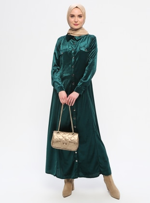 Green - Point Collar - Unlined - Dress
