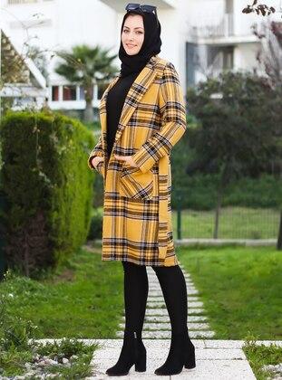 Mustard - Unlined - Point Collar - V neck Collar - Acrylic -  - Coat - Por La Cara