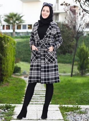 Black - Unlined - Point Collar - V neck Collar - Acrylic -  - Coat