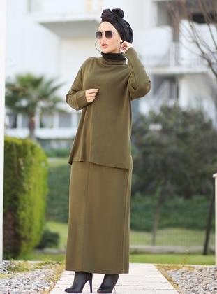 Khaki - Unlined - Acrylic -  -  - Suit