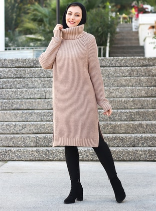 Beige - Polo neck - Unlined - Knit Tunics - Por La Cara