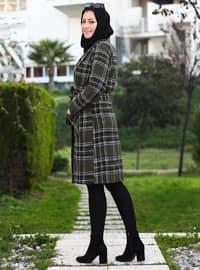 Khaki - Unlined - Point Collar - V neck Collar - Acrylic -  - Coat