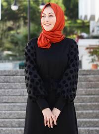 Siyah - Yuvarlak yakalı - Astarsız kumaş - Akrilik - - Elbise