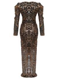 Gold - Fully Lined - V neck Collar - Muslim Evening Dress