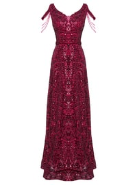 Fuchsia - Fully Lined - V neck Collar - Muslim Evening Dress