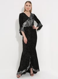 Gray - Half Lined - V neck Collar - Muslim Evening Dress