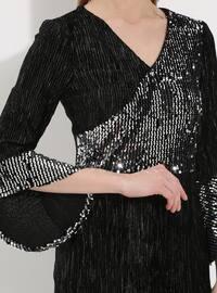 Gray - Half Lined - V neck Collar - Muslim Evening Dress