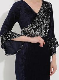 Navy Blue - Half Lined - V neck Collar - Muslim Evening Dress