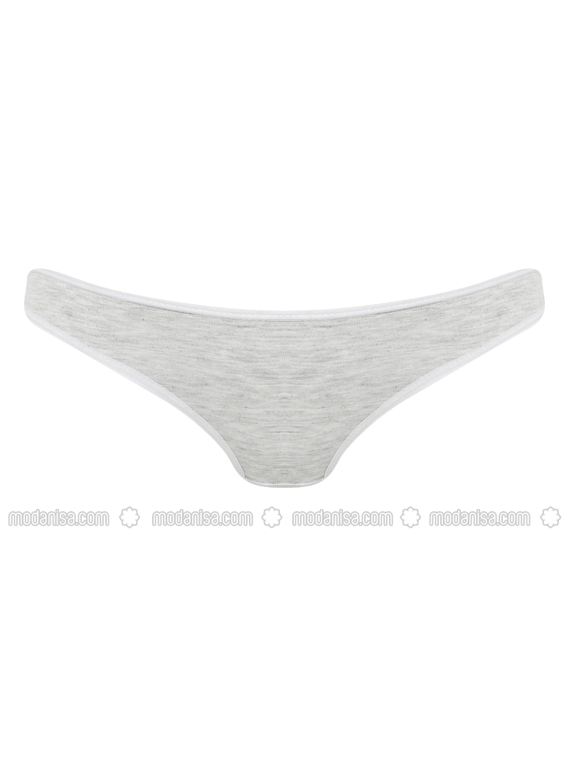 Gray - Cotton -  - Combed Cotton - Panties
