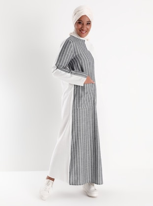 Oversize Natural Fabric Striped Dress - Blue White