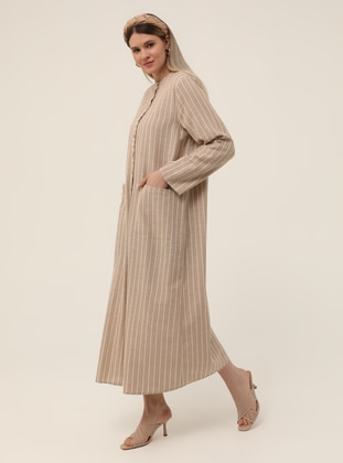Stone - Stripe - Polo neck -  - Plus Size Coat