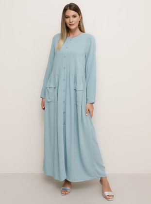 Blue - Unlined - Crew neck - Viscose - Plus Size Dress