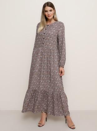 Mink - Floral - Unlined - Crew neck - Viscose - Plus Size Dress