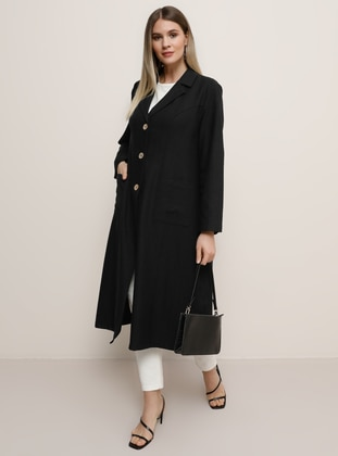 Black - Shawl Collar - Unlined -  - Plus Size Jacket - Alia