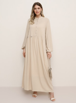 Stone - Unlined - Crew neck - Plus Size Dress