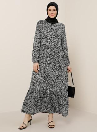 White - Black - Shawl - Unlined - Crew neck - Viscose - Plus Size Dress - Alia