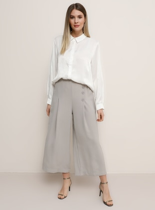 Gray - Plus Size Pants