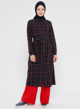 Navy Blue - Plaid - Unlined - Point Collar - Topcoat
