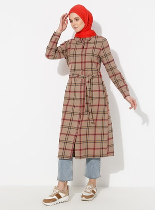 Stone - Plaid - Unlined - Point Collar - Topcoat