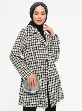 White - Black - Checkered - Unlined - Shawl Collar - Jacket