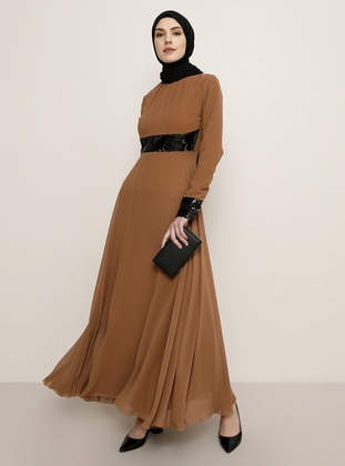 Brown - Fully Lined - Crew neck - Muslim Evening Dress