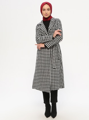 White - Black - Houndstooth - Unlined - Shawl Collar - Topcoat