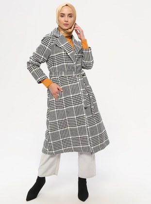 White - Black - Plaid - Unlined - Shawl Collar - Topcoat