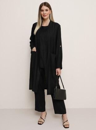 Black - Crew neck - Unlined - Viscose - Plus Size Suit - Alia