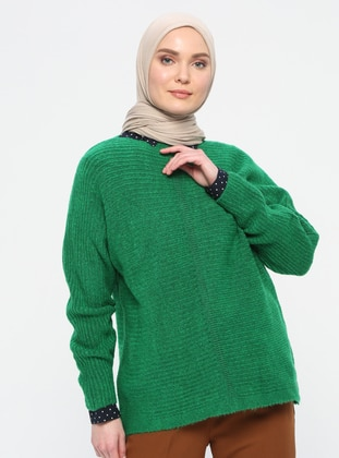 Green - Crew neck - Acrylic -  - Tunic