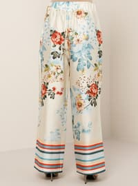 Beige - Floral - Plus Size Pants