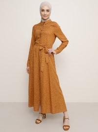 Beyaz - Tarçın - Çiçekli - Fransız yaka - Astarsız kumaş - Viskon - Elbise