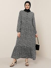 Beyaz - Siyah - Şal - Astarsız kumaş - Yuvarlak yakalı - Viskon - Büyük beden elbise