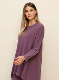 Purple - Crew neck - Unlined - Plus Size Suit